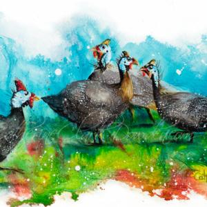 Ink Series -Guinea Fowl I- Fine Art Reproduction