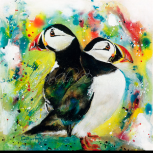 Ink Series-A Pair of Puffins-Fine Art Reproductions