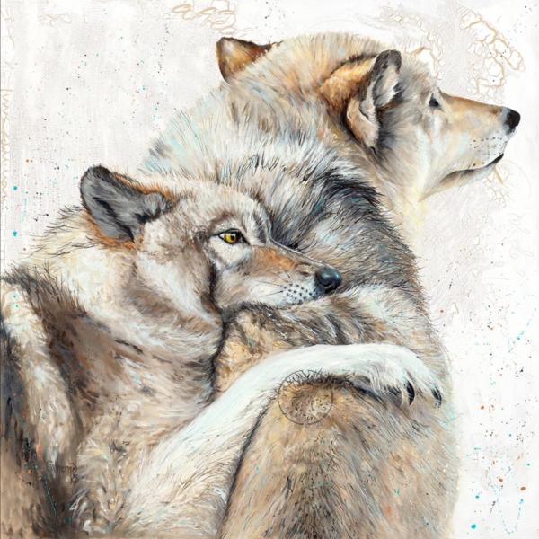 mixed media, wolves, artwork, painting