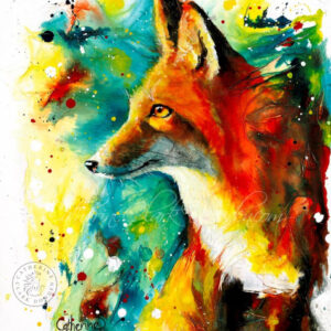 colourful,fox.ink.painting