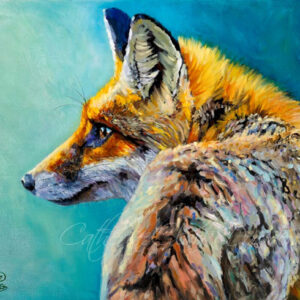 fox,colourful,painting,